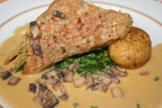 Pine Nut and Basil Seared Mock Chicken with Lobster Substitute Mushroom Beurre Blanc